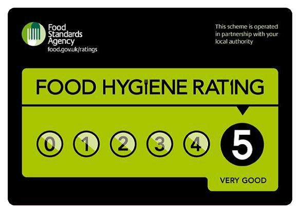 We have received a superb 5* food hygiene rating for our excellent food hygiene and preparation skills.
