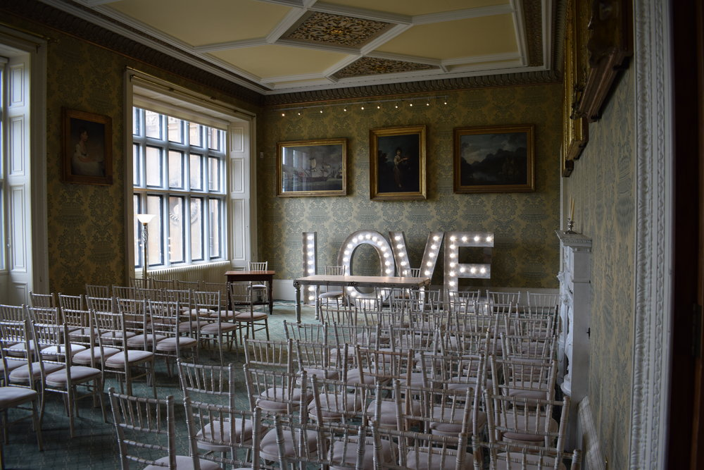 Wollaton Hall Light Up LOVE Letters, Nottingham
