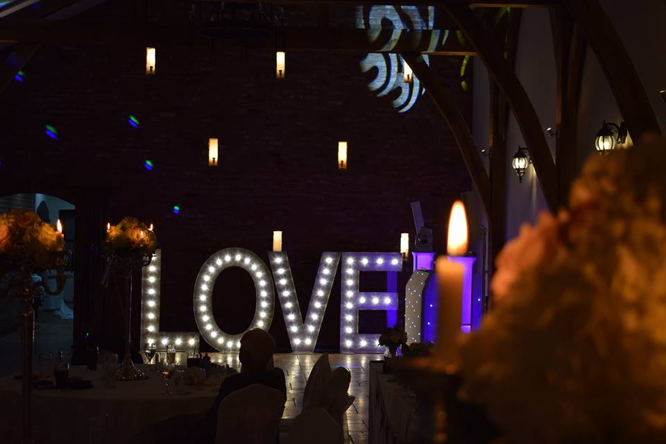 Light Up LOVE Letters Swancar Farm country House Nottingham