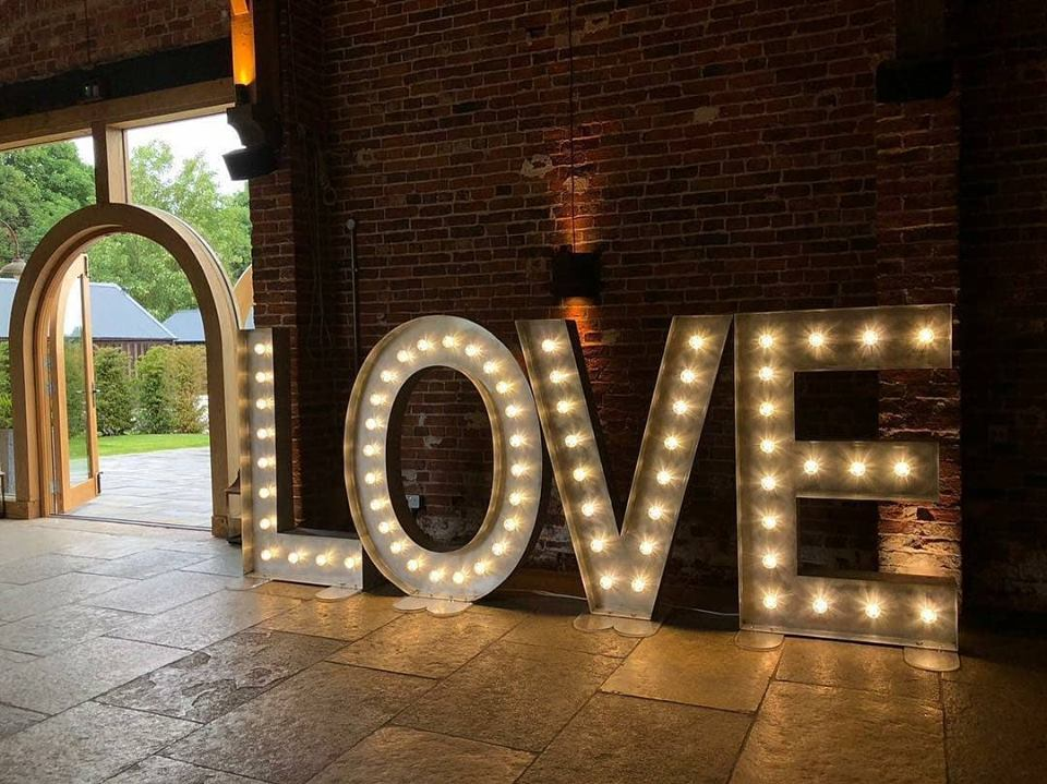Large Illuminated LOVE Letters Hire Nottingham, Derby, Leicester, East Midlands