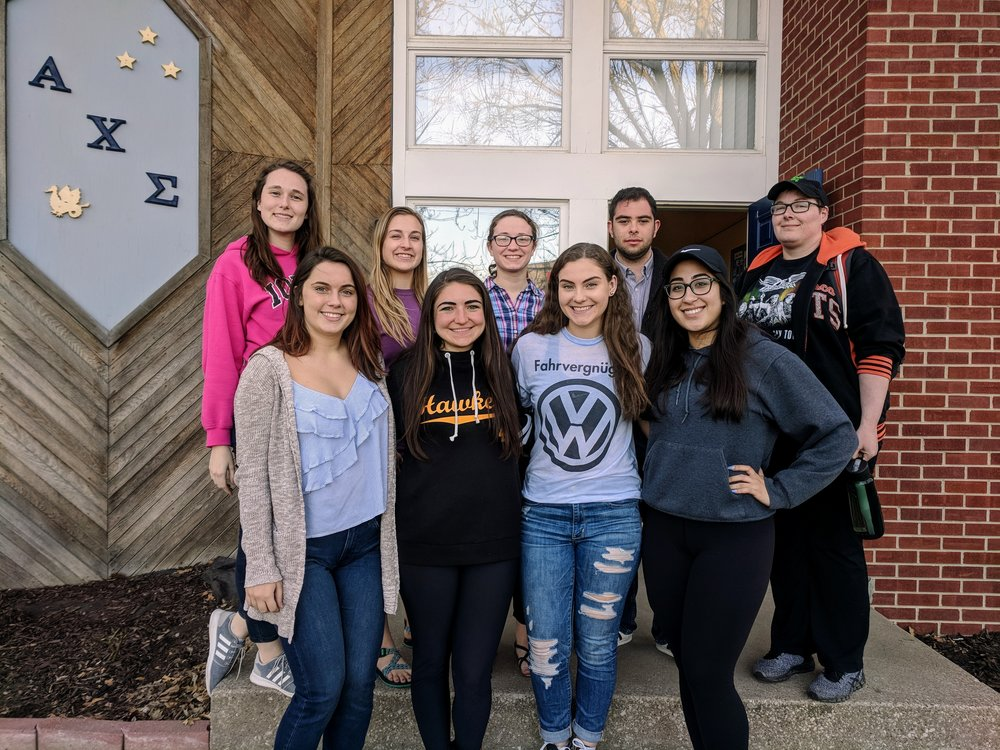 Spring 2018 Pledge Class - Congratulations to the newest initiates of the Alpha Theta chapter!Back row (L to R): Rachel, Erika, Erica, Miguel, Anna G.Front row (L to R): Morgan, Taylor, Allison, Anna H.Not pictured: Rafael L., Pete G.