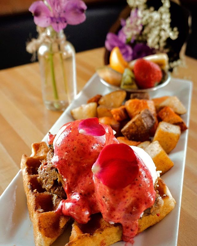 The best of both worlds have FINALLY collided! Our benedicts now available on waffles! #wafflebennies #yyceats #brunchsohard #monkibistro