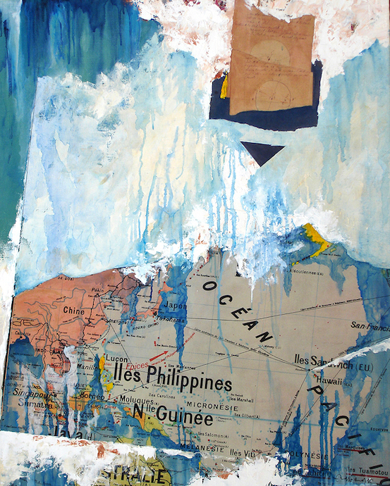 Tuamotou    Collage et huile sur toile  – 100 x 81 cm