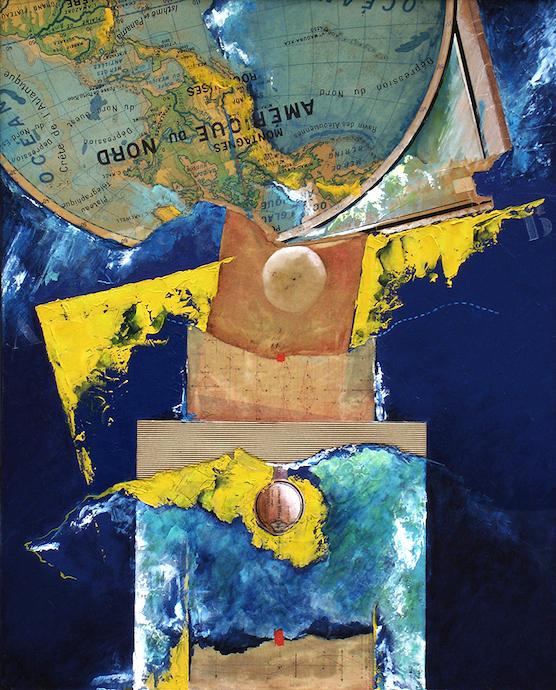 Ravin des Aléoutiennes    Collage et huile sur toile  – 81 x 65 cm