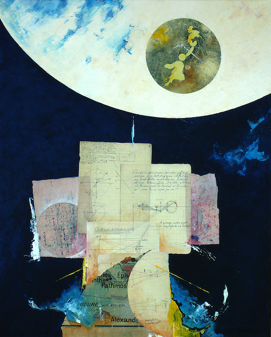 La lunette de Galilée    Collage et huile sur toile  – 81 x 65 cm
