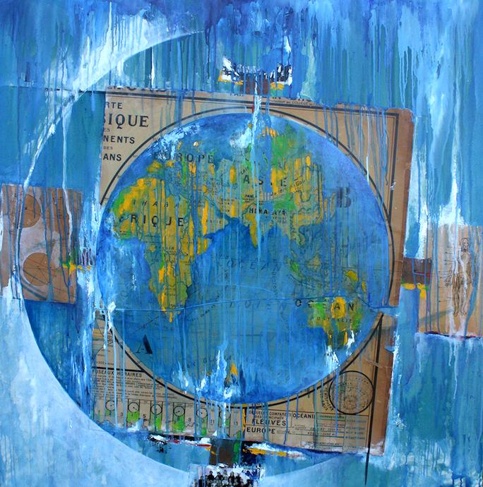 Mer belle à peu agitée    Collage et huile sur toile  – 100 x 100 cm