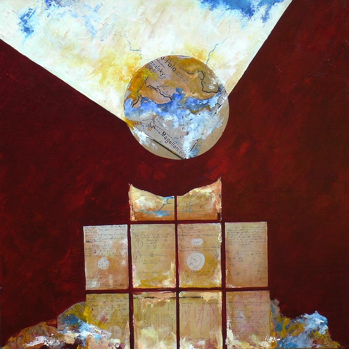 La mort de Magellan    Collage et huile sur toile  – 80 x 80 cm