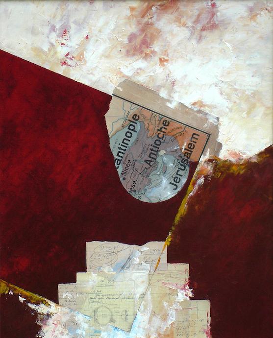 Constantinople, Antioche, Jérusalem. Le bruit et la fureur des illuminés    Collage et huile sur toile  – 81 x 65 cm