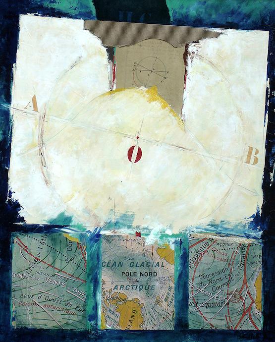 Océan glacial Arctique    Collage et huile sur toile  – 81 x 65 cm