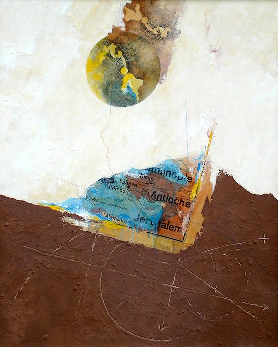 Cyrène échouée    Collage, terre et huile sur toile  – 100 x 81 cm