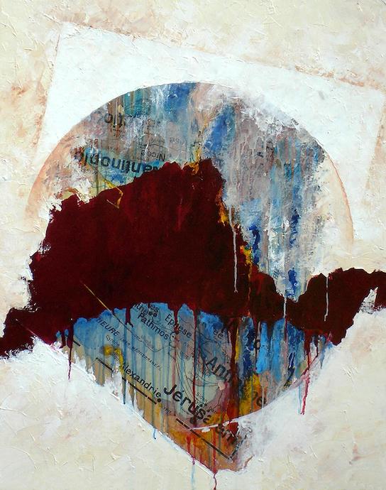 Le voyage des illuminés 1    Collage et huile sur toile  – 81 x 65 cm