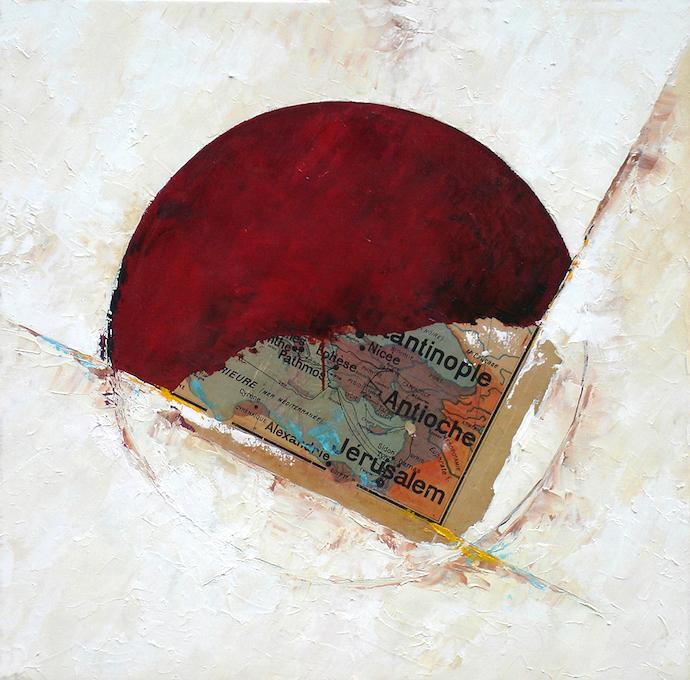 Le voyage des illuminés 2    Collage et huile sur toile  – 80 x 80 cm