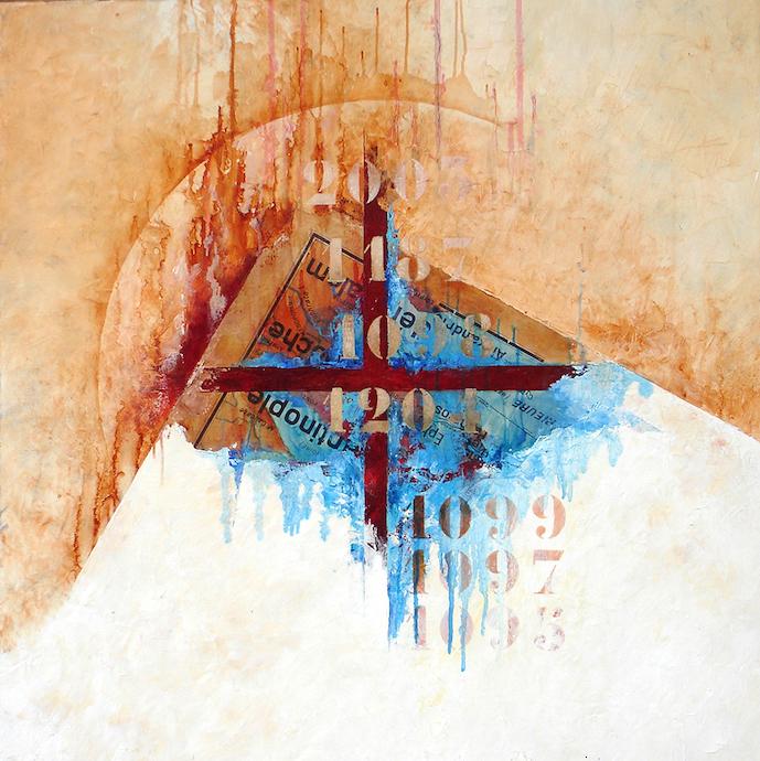 Le voyage des illuminés 3    Collage et huile sur toile  – 80 x 80 cm