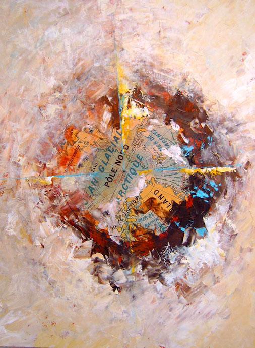 Arctique    Collage et huile sur papier  – 65 x 50 cm