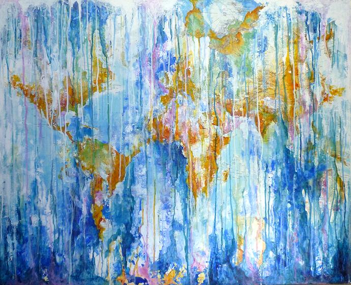 Après l'orage    Collage et acrylique sur toile  – 81 x 100 cm