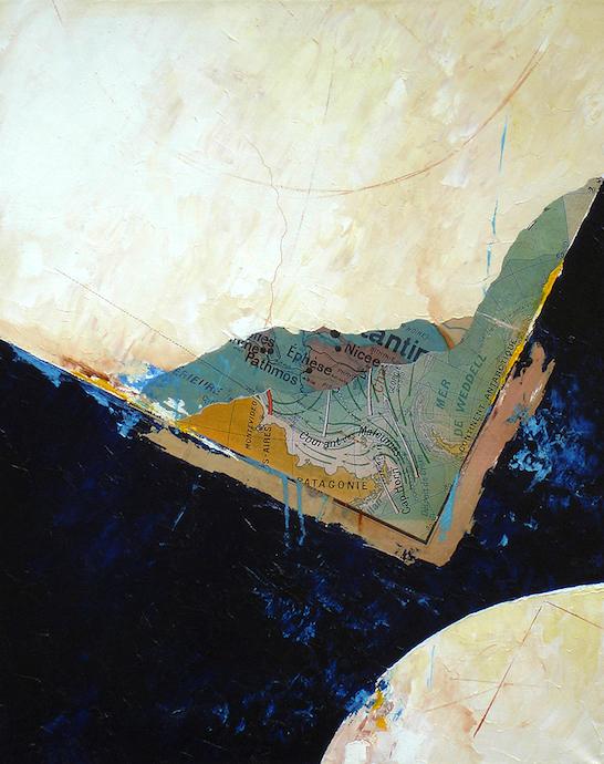 Vaste zone dépressionnaire    Collage et huile sur toile  – 81 x 65 cm