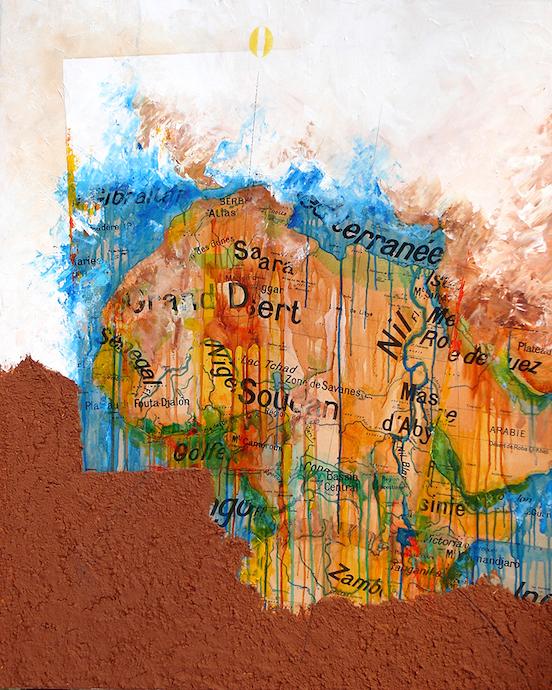 Nommo ou la force des Ancêtres    Collage, terre et huile sur toile  – 100 x 81 cm