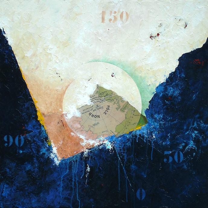 Pôle nord 2    Collage et huile sur bois  – 80 x 80 cm