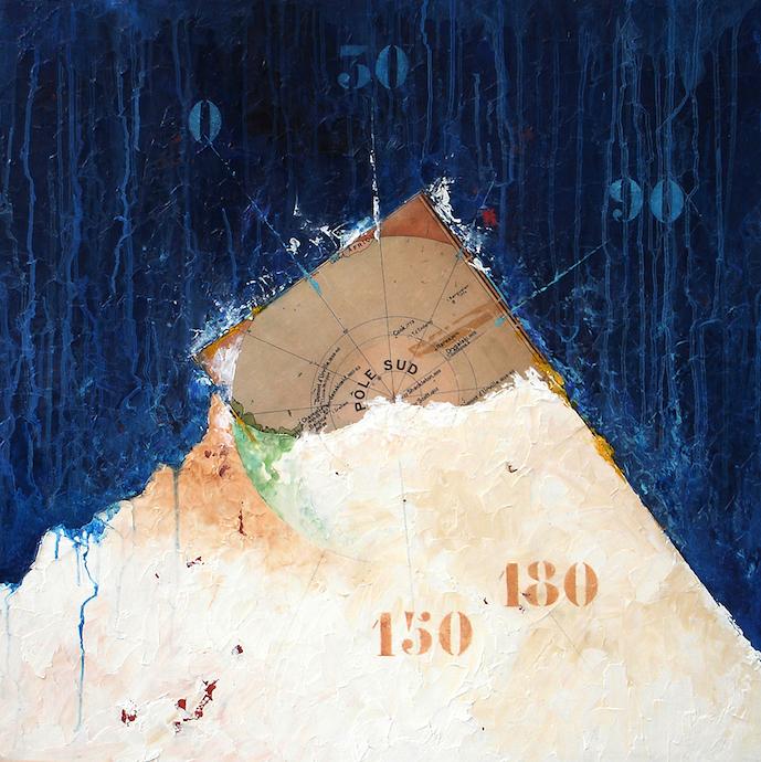 Pôle sud 2    Collage et huile sur bois  – 80 x 80 cm