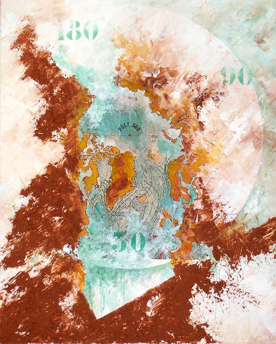 Grand frais à fort coup de vent en cours    Collage, terre et huile sur toile  – 81 x 65 cm