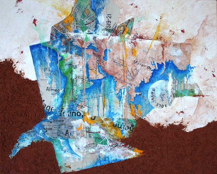 Le voyage de l'illuminé    Collage, terre et huile sur toile  – 65 x 81 cm