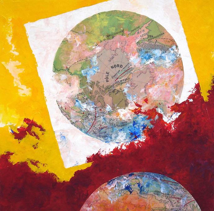 Forte houle d'ouest    Collage et acrylique sur toile  – 80 x 80 cm