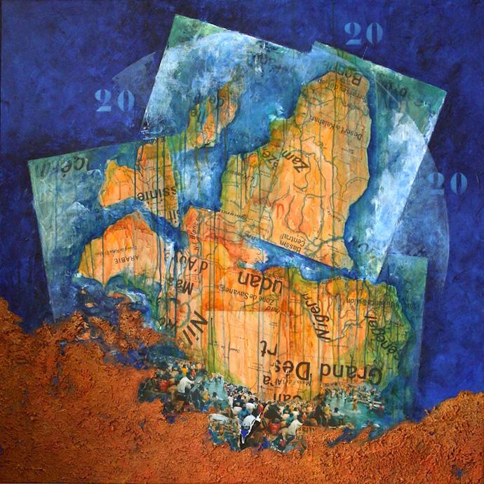 Le voyage à Lampedousa    Collage, terre et acrylique sur toile  – 100 x 100 cm