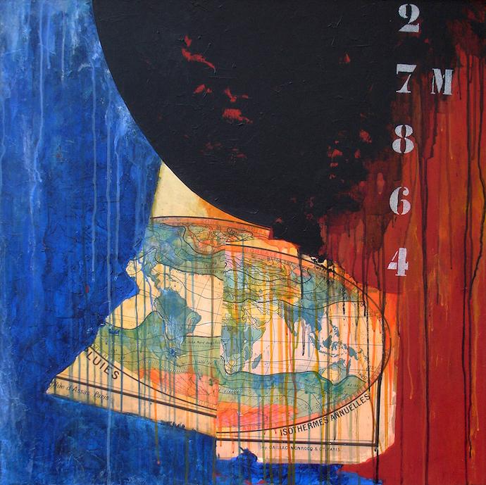 Amoco requiem    Collage et acrylique sur toile  – 80 x 80 cm