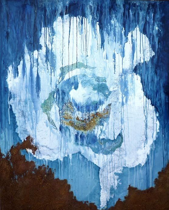 Antarctique 1    Collage, terre et acrylique sur toile  – 100 x 81 cm