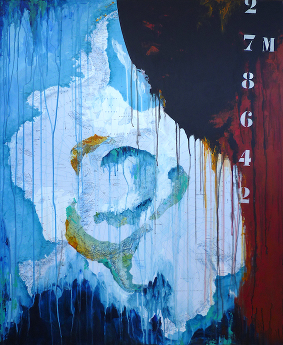 Antarctique 2    Collage et acrylique sur toile  – 100 x 81 cm