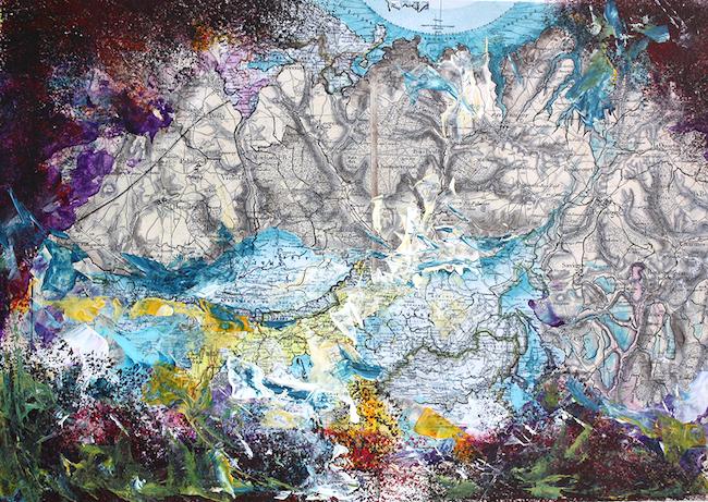Charriet aux Loups Collage et acrylique – 40 x 50 cm