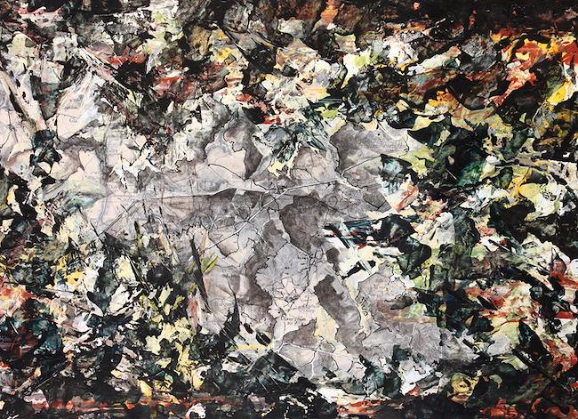 La fontaine aux Clercs (Vaumoise) Collage et acrylique – 30 x 40 cm