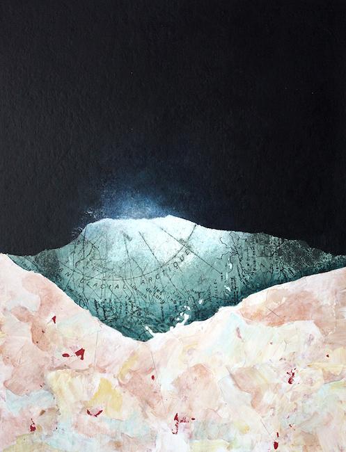 Arctique, la dernière aurore Collage et acrylique sur carton – 40 x 30 cm