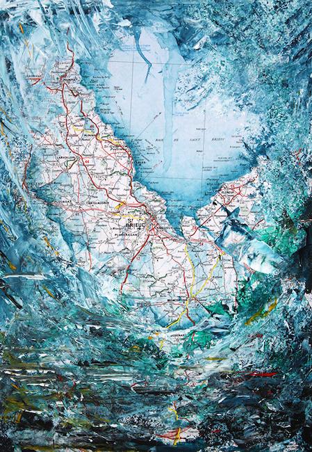 Baie de Saint-Brieuc Acrylique sur carte routière – 39 x 28 cm