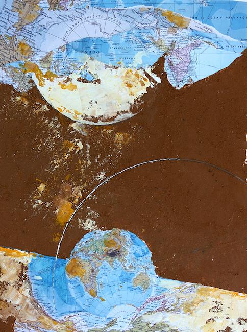 Le ravin des Aléoutiennes 2 Terre, collage et acrylique