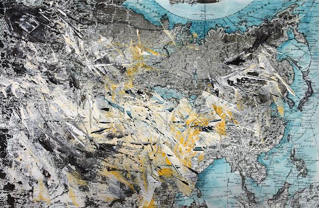 Du Ponant au Levant    Peinture acrylique et montage numérique  – 20 x 30 cm