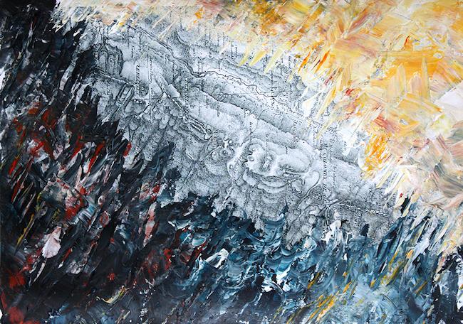 Les brûlures de la guerre 1    Peinture acrylique sur tirage numérique