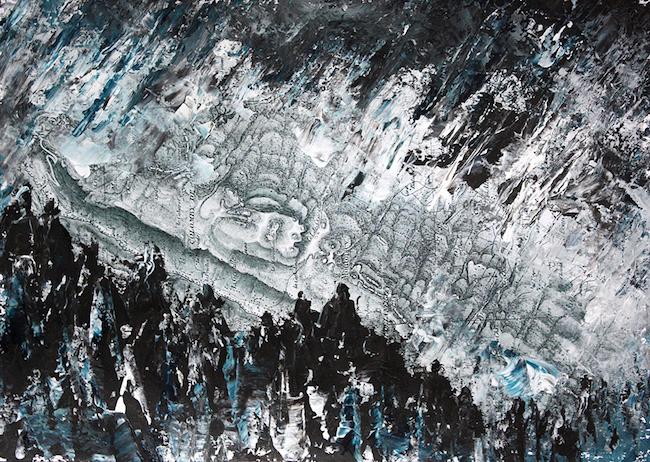 Les brûlures de la guerre 2    Peinture acrylique sur tirage numérique  – 20 x 30 cm
