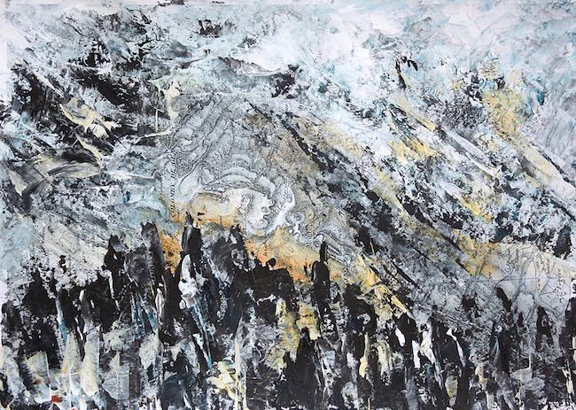 Les brûlures de la guerre 3 Peinture acrylique sur tirage numérique – 20 x 30 cm