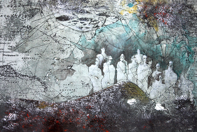 Les morsures de la guerre Peinture acrylique et montage numérique – 20 x 30 cm
