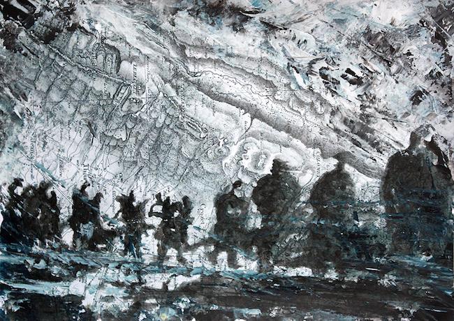 Montée en première ligne Peinture acrylique sur tirage numérique – 20 x 30 cm