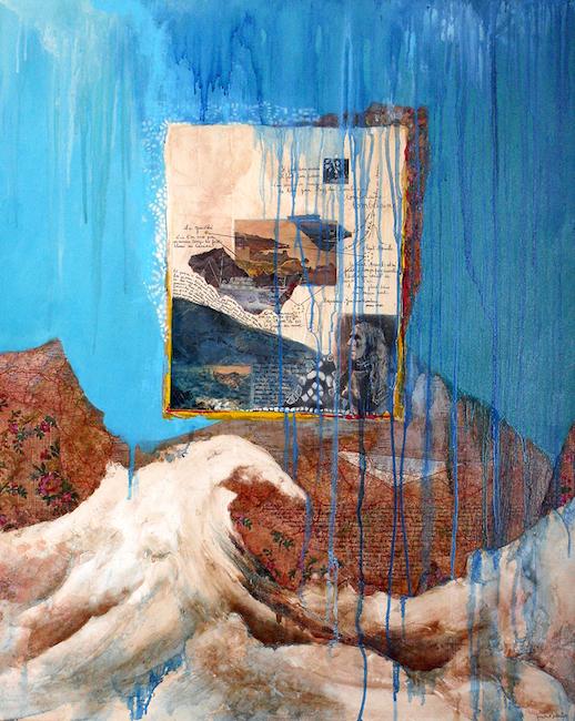 Composition pour Lapidaire 1 Peinture à l'huile et collage sur toile – 100 x 81 cm
