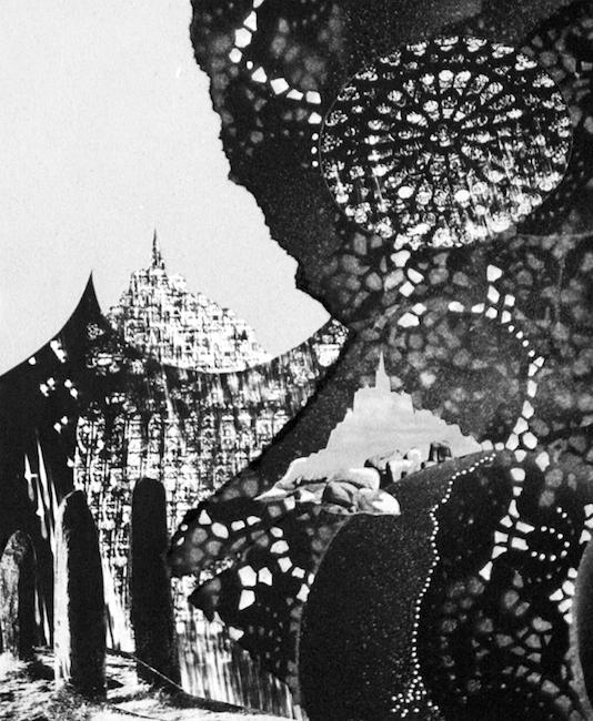 Une sphère constante fait la roue Collage et peinture acrylique –32 x 24 cm