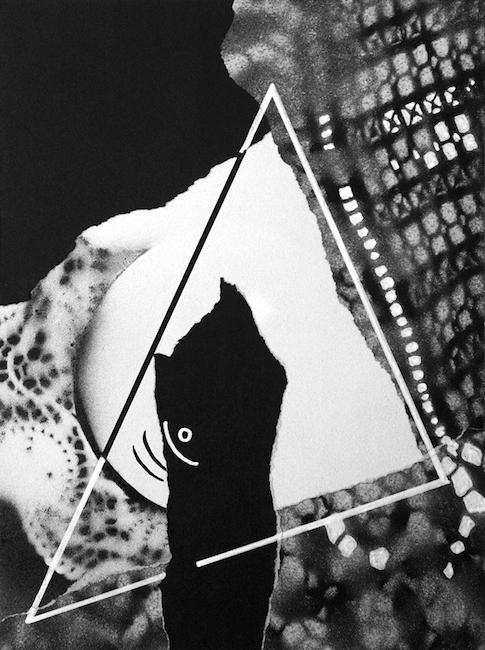 La pierre griffée Collage et peinture acrylique – 32 x 24 cm