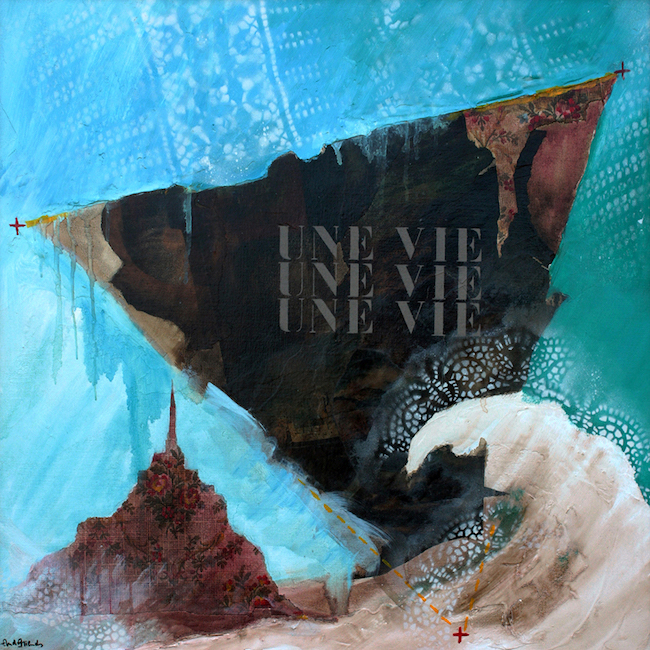 Une vie, une vie, une vie Peinture à l'huile et collage sur toile – 80 x 80 cm
