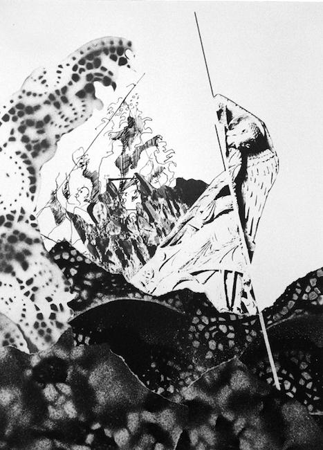 Les sauts prodigieux des esprits Collage, peinture acrylique et encre de chine – 32 x 24 cm