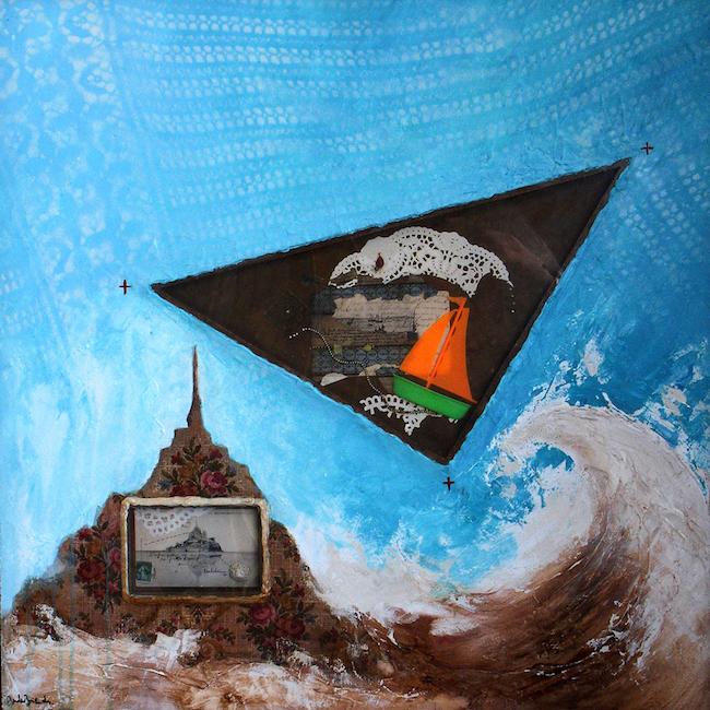 Composition pour Lapidaire 3 Peinture à huile, assemblage et collage sur toile – 80 x 80 cm
