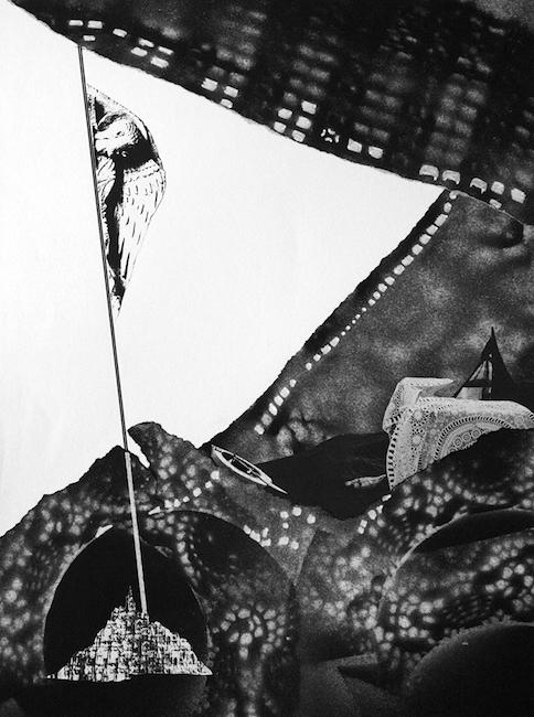 À temps placé sous un oiseau Collage et peinture acrylique – 32 x 24 cm