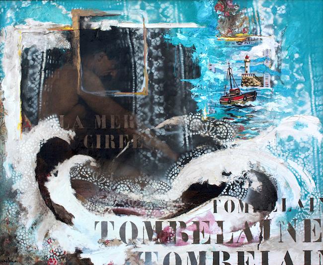 Sur la mer cirée Peinture à l'huile et collage sur toile – 81 x 100 cm
