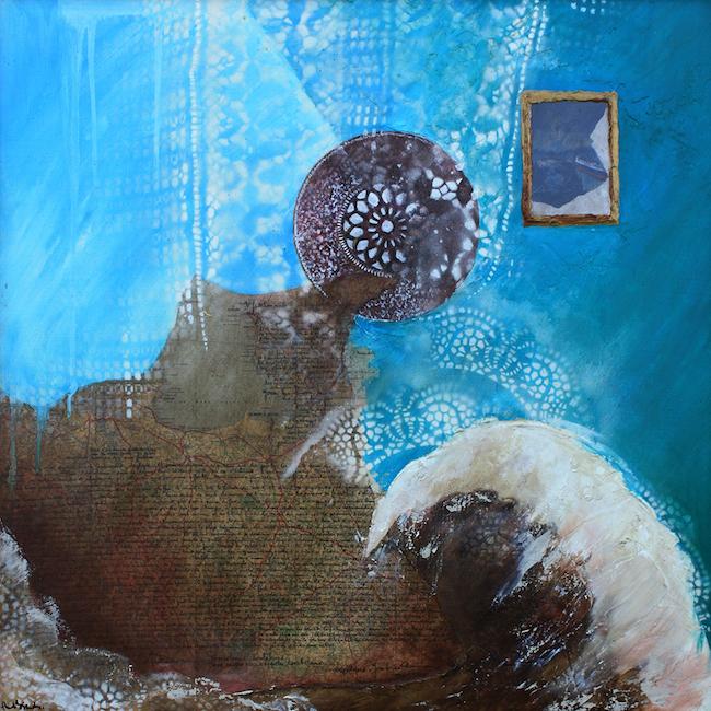 Composition pour Lapidaire 2 Peinture à l'huile et collage sur toile – 80 x 80 cm